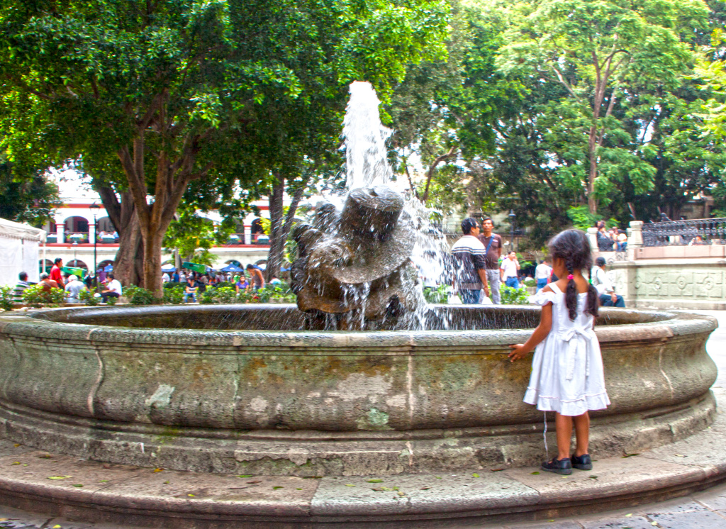 Fascination with a fountain in the Zocolo Mexico Bill Bell Photograph